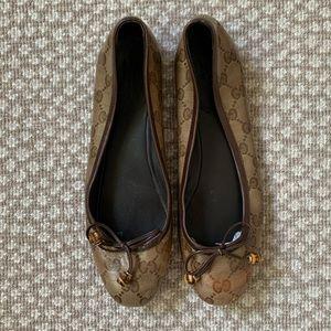 Authentic Gucci Logo Ballet Flats & Shoe Bags